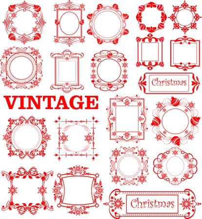 Christmas. Calligraphy. Set of vintage frames. Stock Vector - 11157842