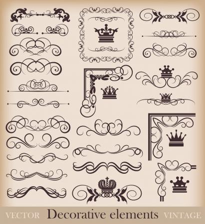 gothic design: Vector set  Calligraphic design elements for your design  Retro