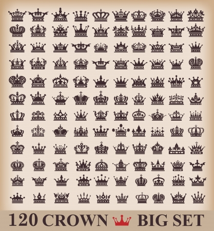 Crown  Big set  Collection icons  Vector  Vintage Vector
