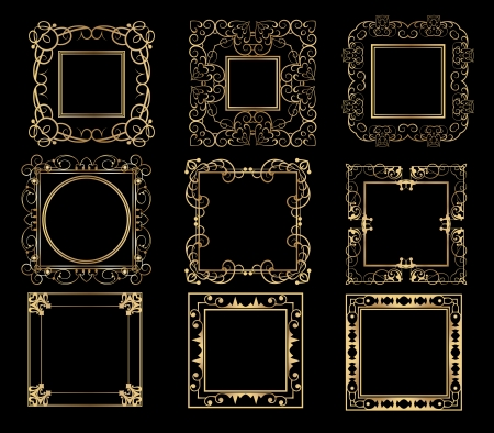 Frames  Decorative elements  Vector image  Vintage