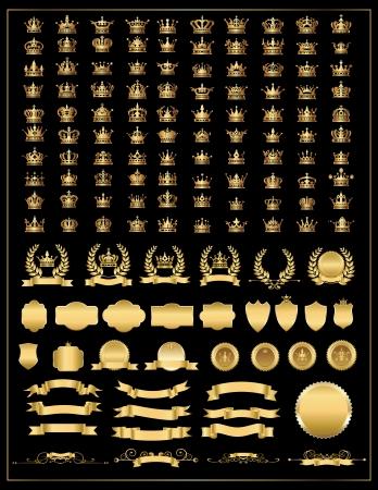 corona reina: corona, la recogida de vectores, corona de oro conjunto grande, iconos de la corona fijados bandera de oro vector, corona de laurel y la cinta, bandera, escudos