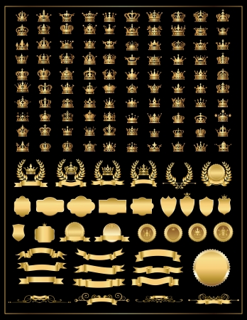 gold crown: crown, vector collection, gold  crown big set, crown icons set  vector gold banner, laurel wreath and Ribbon, banner, shields   Illustration