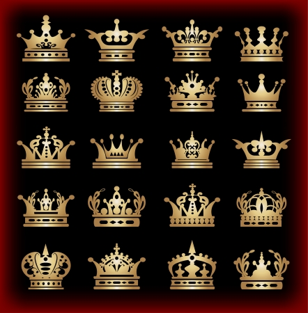 gold crown: crown, vector collection, gold