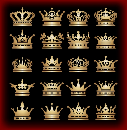 kingdoms: crown, vector collection, gold