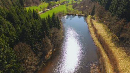 Aerial shot of the Eutersee. The Eutersee is a little lake in South Hessia, Germany.