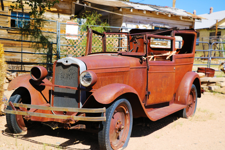 A vintage car left abandoned near the Hackberry General Store. Hackberry General Store is famous stop on the historic Route 66