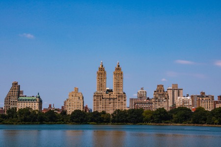 Incredible view of New York city skyline from Central park