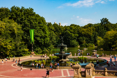 NEW YORK, USA - August 31, 2018: Panorama view of Bathesda Fountain in Central Park New York
