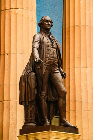 New York, USA - September 2, 2018: Facade of the Federal Hall with Washington Statue on the front, Manhattan, New York City