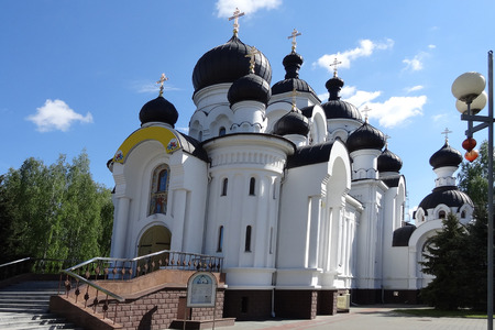 Baranovichi, Belarus - May 9, 2015: Church of the Holy Myrrh-Bearing Women. The temple was built in 2007 and is one of the most beautiful Orthodox churches Editorial