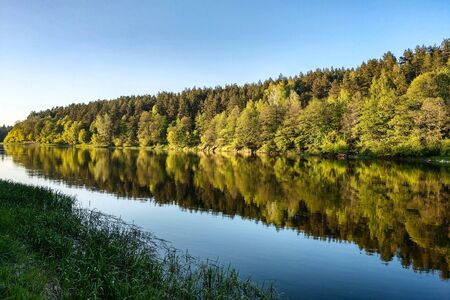 Beautiful river with a forest, the reflection of trees in the water, smooth calm surface of the water without waves Stock Photo