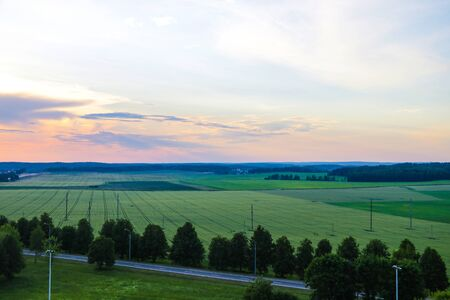 Colorful landscape photo in clear green and blue nature