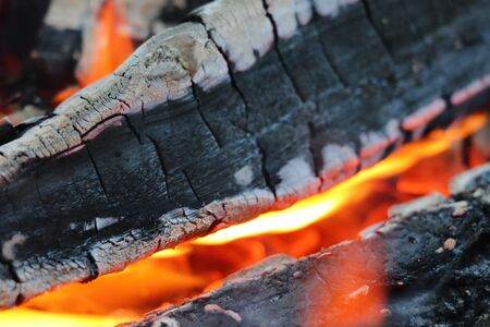 Smoldering coals from the fire. A fading bonfire. Close-up. Texture