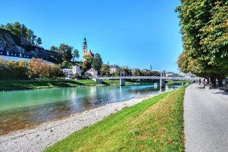 The Salzach River divides Salzburg into two districts - the left-bank pedestrian Old Town, which is famous for buildings erected in the Middle Ages and the Baroque era, and the right-bank New Town