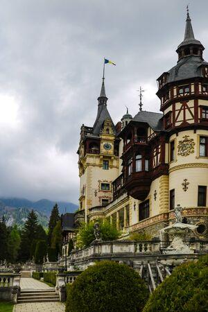 Sinaia, Romania, May 17, 2019 Peles castle Sinaia Romania Dramatic sky