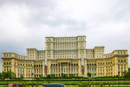 Bucharest, Romania, May 17, 2019: Palace of the Parliament Palatul Parlamentului . Palace is the worlds largest civilian building with an administrative function and heaviest building.