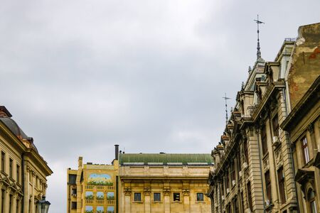 Bucharest, Romania, May 17, 2019: View of the rooftops of the old city