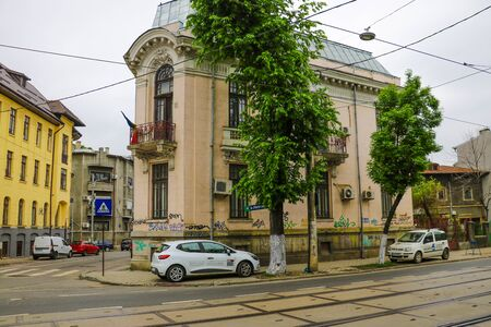 Bucharest, Romania, May 18, 2019: A large number of electric wires, cables on the streets of the old city of Bucharest 報道画像