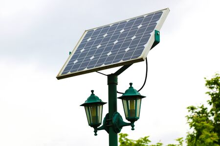 Street lights using solar panel energy generator