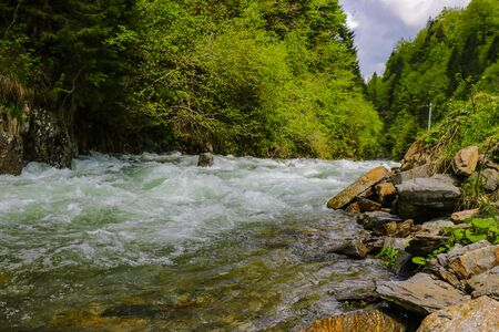 View of the fast mountain river high in the mountains along the Transfagaras road, Romania