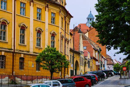 Sibiu, Romania, May 15, 2019 Old colorful houses of Sibiu city 報道画像