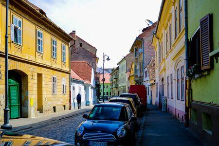 Sibiu, Romania, May 15, 2019 Small old colorful houses in Sibiu