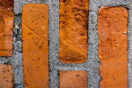 Old red brick wall texture background, template for designers