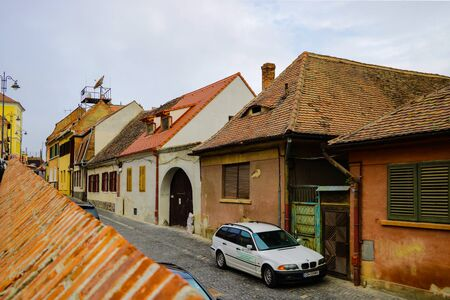 Sibiu, Romania, May 15, 2019 Cityscape with old house of historical center