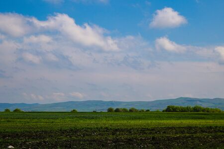 View of green fields and blue sky with white clouds, mountains are visible on the horizon, out of focus