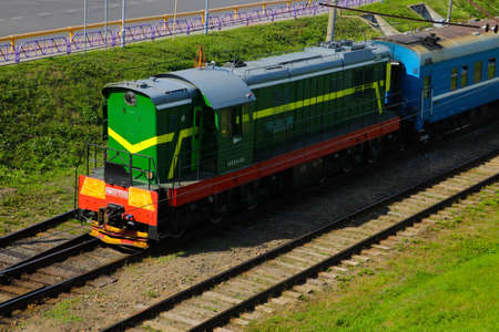 Grodno, Belarus - May 18, 2019: Top view of a train on a sunny day