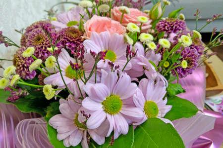 Beautiful bouquet of fresh wedding flowers, nature