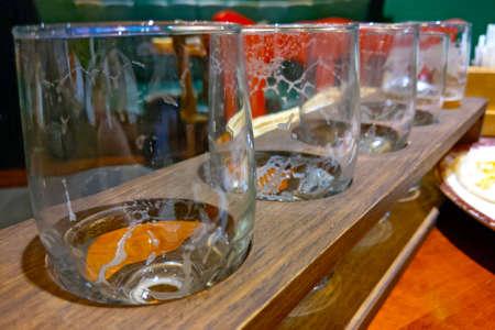 Set of empty beer glasses. Selective focus Reklamní fotografie