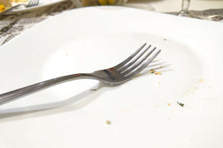 White empty plate with fork after meal 写真素材