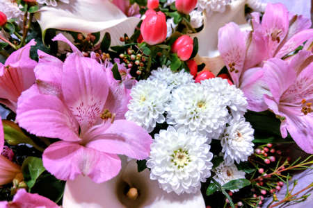 Bouquet of fresh fragrant flowers. Congratulations on