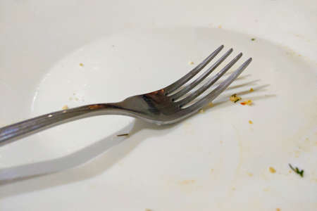 A dirty plate with a fork after eating in a restaurant