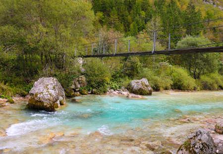 A small bridge over a fast river