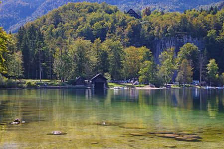 Beautiful Slovenian landscape Bohinj Lake, with turquoise water. Triglav National Park, Julian Alps, Slovenia, Europe