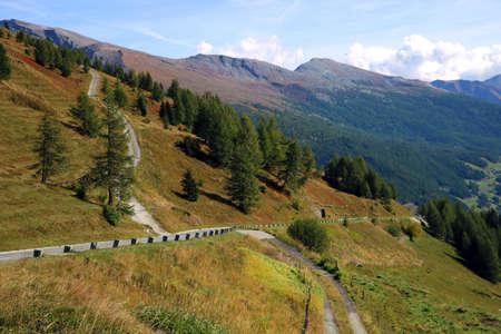 Aerial shot of the Grossglockner high alpine roads in Austria