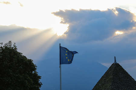 European union flag waving in the wind against the backdrop of the sunset Stock fotó