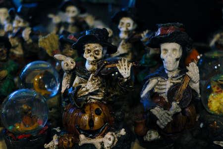 Halloween decoration. Scary figurines of the dead on the shelf Stok Fotoğraf