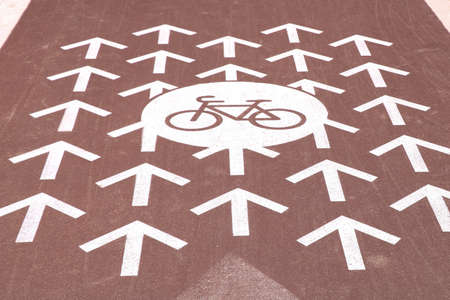 Bicycle path signpost on the road. City infrastructure. Clean city, healthy lifestyle