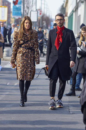 MILAN, ITALY - FEBRUARY 21: Anna Dello Russo is seen outside Gucci during Milan Fashion Week FallWinter 201819 on February 21, 2018 in Milan, Italy.