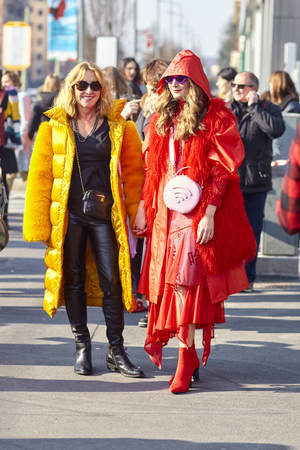 MILAN, ITALY - FEBRUARY 21: A fashionable person is seen outside Gucci during Milan Fashion Week Fall/Winter in Milan, Italy.