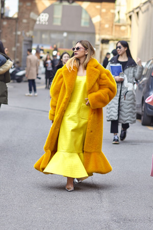 Milan, Italy - February 21, 2018: Street Style: Milan Fashion Week Fall/Winter 2018/19. Annakiki show