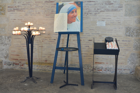 beatification: TOULOUSE, FRANCE - JULY 23, 2016:Catholic Church with a portrait of Mother Teresa in Toulouse, France.