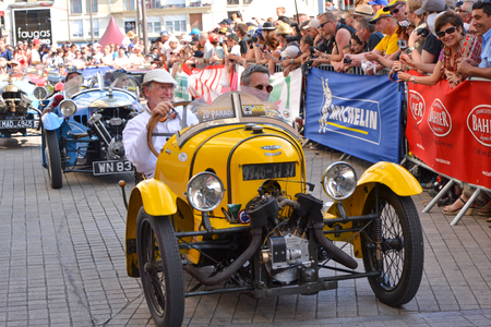 LE MANS, FRANCE - JUNE 13, 2014:Parade of pilots racing.Presentation of Morgan Darmont car in Le Mans, France.