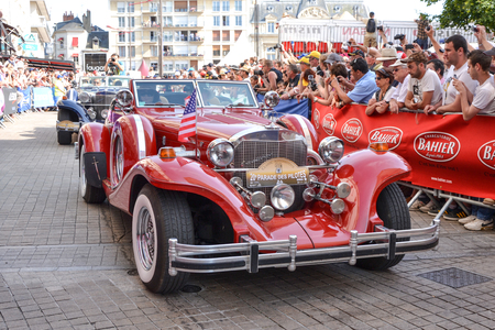 LE MANS, FRANCE - JUNE 13, 2014:Parade of pilots racing.Presentation of Excalibur car in Le Mans, France.
