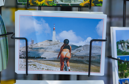 BEDOIN, FRANCE - AUGUST 1, 2016: Postcards souvenirs Cycling on Mont Ventoux, road to summit. Provence France