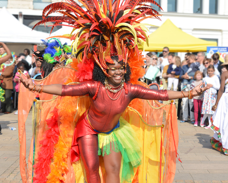 LE MANS, FRANCE - APRIL 22, 2017: Festival Evropa jazz A woman dancing in Caribbean costumes