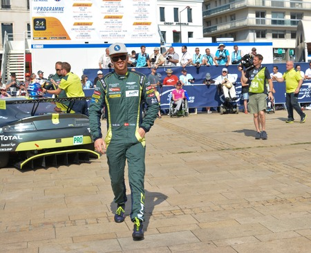 le cap: LE MANS, FRANCE - JUNE 11, 2017: Famous Danish racer Nicki Thiim in a uniform of pilot Aston Martin Racing
